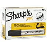 Sharpie Pro King Size Permanent Markers, Chisel Tip, Black, Box of 12