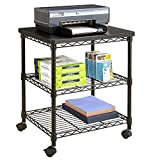 Mobile Printer Stand with Powder Coated Finish in Black and Beautiful Texture - Attractive and Contemporary, Occupies Minimum Floor Space, Sufficient Space to Accommodate Office Supplies