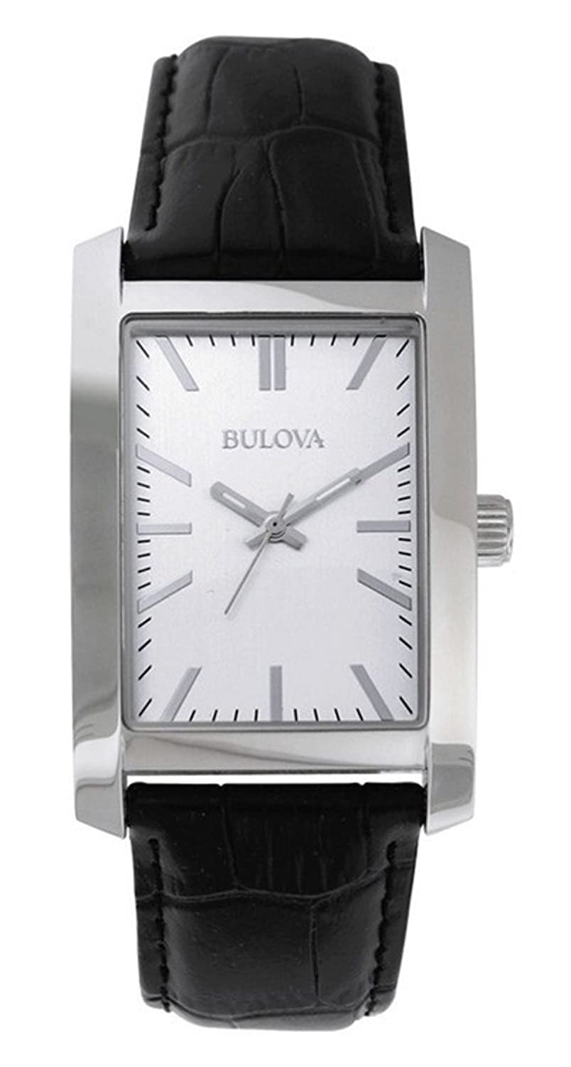 Amazon.com: Bulova Corporate Collection Mens Rectangular Dial Black Strap Watch 96A156: Watches