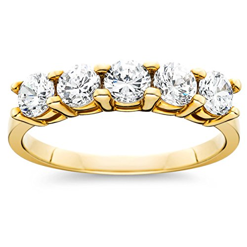 (1ct Five Stone Diamond Ring 14K Yellow Gold - Size 6)