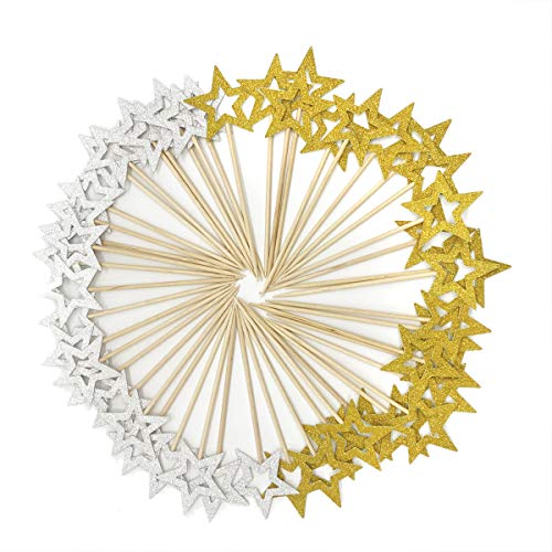 Star Cupcake Picks - 50 Pcs Gold & Silver Star Cupcake Toppers,Star Cupcake Toppers Twinkle Little Star Decorations Birthday Cupcake Toppers Glitter Star Cake Decoration for Party Birthday Wedding Ceremony (Gold & Silver)