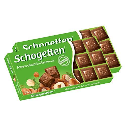 Schogetten Alpine Milk Chocolate with Hazelnuts Bar Candy Original German Chocolate 100g/3.52oz (Pack of 2) ()