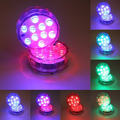 JoyGood 2pcs 10 LED Multi-Farben-wasserdichte Unterwasser-LED-Lichter für Hochzeit Swimmingpool, Aquarium, Weihnachtsdekorationen Licht mit Fernbedienung Batteriebetrieben