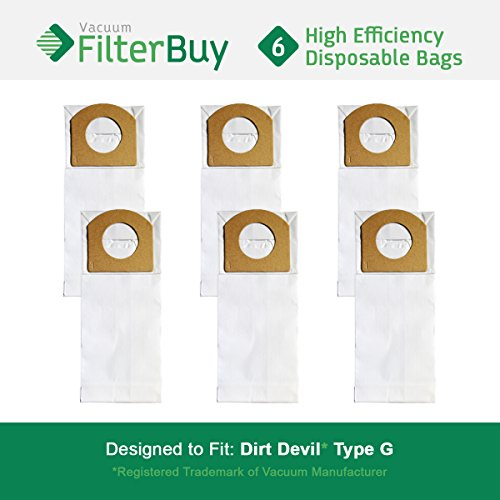 (6 - FilterBuy Dirt Devil Type G Replacement Vacuum Bags, Part # 3010348001. Designed by FilterBuy to replace Dirt Devil Type G Vacuum Bags.)