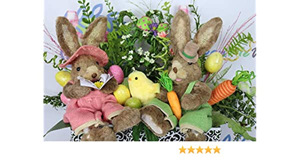 Easter Bunny Rabbit Outdoor Spring Home Decor Egg Basket Wreath Swag Pick 35/""