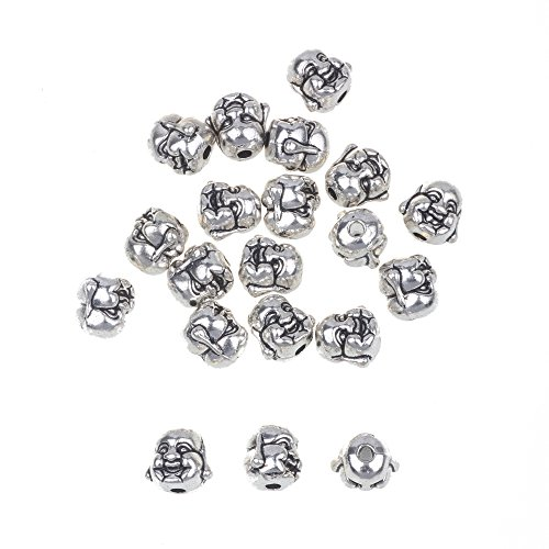 (RUBYCA 40PCS Laughing Buddha Small Spiritual Metal Beads Silver Color Spacer Jewelry Making Bracelet)