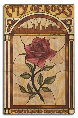 (Lantern Press Portland, Oregon - Rose and Skyline Stained Glass (10x15 Wood Wall Sign, Wall Decor Ready to Hang))