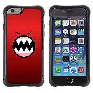 WAWU Funda Carcasa Bumper con Absorci??e Impactos y Anti-Ara??s Espalda Slim Rugged Armor -- red angry face cartoon teeth character -- Apple Iphone 6