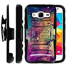 Samsung Galaxy Core Prime Case | Samsung Prevail LTE Holster Case by Untouchble [Heavy Duty Clip] Dual Layer Rugged Hybrid Armor [Kickstand] [Swivel Belt Holster Clip] - Colorful Galaxy Stars
