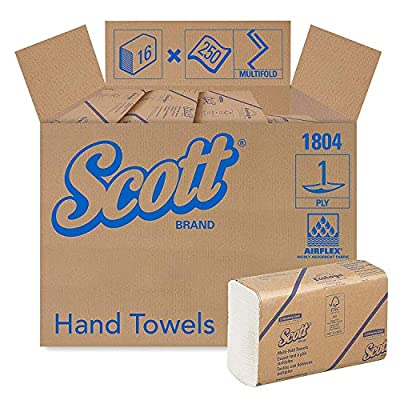 Kimberly-Clark Professional Scott Essential Multifold Paper Towels (01804) with Fast-Drying Absorbency Pockets, White, 16 Packs/Case, 250 Multifold Towels/Pack
