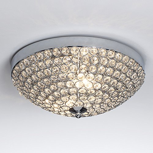 GLANZHAUS Modern Design 11.8 inches Small Clear Crystal Beads Bowl Shaped Chrome Finish Base Chandelier Crystal Ceiling Light, Flush Mount Ceiling Light Suitable for Bedroom Living Room Hallway (11 Flush Mount Chandelier)