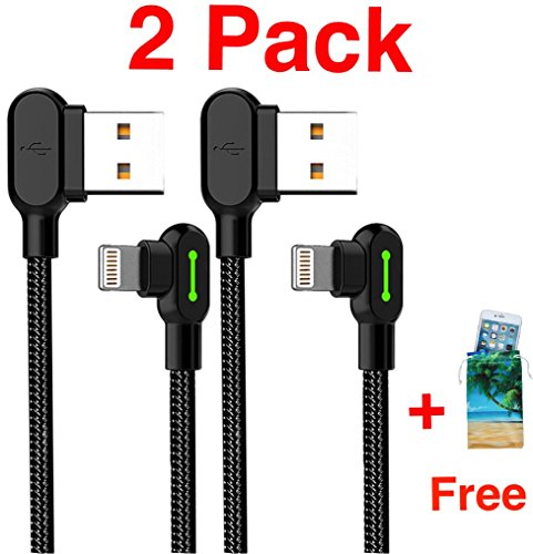 (2 Pack + iPhone Bag) USB 90 Right Angle Design For Gaming iPhone LED Lightning Nylon Braided Sync Charge USB Data 6FT/1.8M Cablr For iPhone/iPad Pro/Air ,iPad mini,iPod (6FT Black)