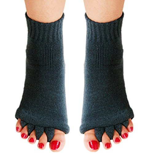 Yoga Sports Gym Five Toe Separator Socks Foot Alignment Pain Massage Socks (M, dark navy) ()