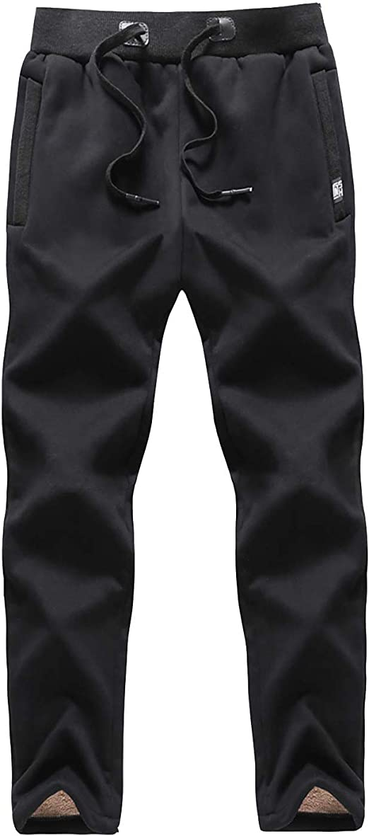 Da Uomo Invernale Termico Elastico Vita Pantaloni Pelliccia Foderato Caldo Sport