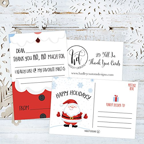 25 Christmas Holiday Kids Thank You Cards, Santa Fill In the Blank Thank You Notes, Personalized Card For Birthday Party or Christmas Gifts, Stationery For Children Boys and Girls Photo #3