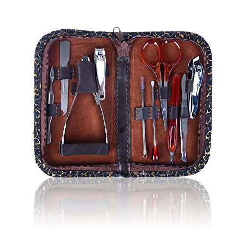 SHANY 10 in 1 Chic Manicure/Pedicure Kit with Brown Case - Steel - Burlesque from SHANY Cosmetics