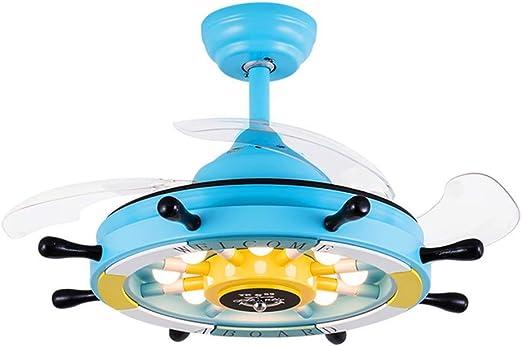 LZQ-DD Los niños de Dibujos Animados, Ventilador de Techo Invisible, Dormitorio de Muchacho y Chica Mediterráneos Inversor de Ventilador Inversor Azul Rosa Lindo Regalo Caliente (Color : Azul): Amazon.es: Hogar