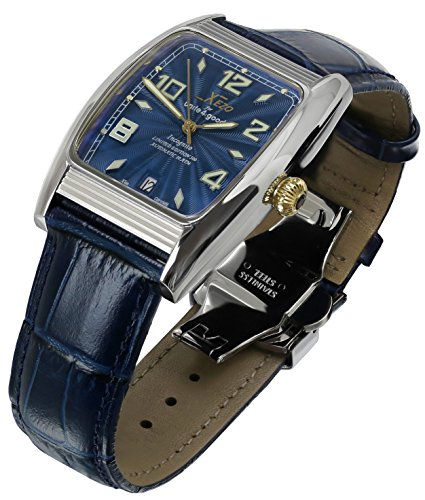 Xezo Incognito Men's 10 ATM Water Resistant Watch. 9015 Miyota Automatic Movement. Gold Accents, Sapphire Blue Dial.  X-Large Leather - Resistant Bracelet Water Cabochon