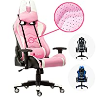 Wahson Pink 180° Reclining PC Gaming Chair for Girls, Mesh Leather Computer Game Chair, Ergonomic High-Back Office Chair, Executive Desk Chair U-Shape Headrest and Lumbar Support 330lbs