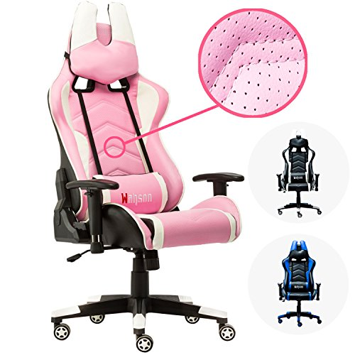 Gaming Chair, Wahson Breathable Leather Racing Ergonomic Swivel Office Adjustable Computer Desk Video Game Chair with Lumbar Support and Headrest Pink and White