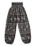 Love Quality Baggy Printed Elephant Print Hippie Yoga Pants (Black)