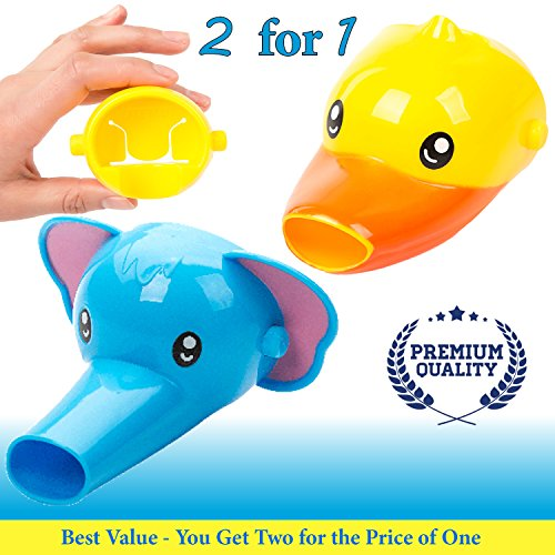 Faucet Extender for Kids - Set of 2 Animal Spout Extenders for Sink Faucets - Hand Washing for Babies, Toddlers & Children (Elephant + Duck) Image