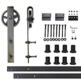 Vancleef 10FT Single Black Wheel Design Sliding Barn Door Hardware Track Rail Rolling Kit Set Industrial Strength, Easy to Follow Installation Manual Included