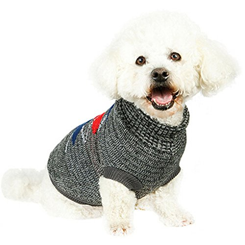 Pet Sweater,Haoricu autumn Stylish Pet Dog Warm Clothes For Small Dogs Sweater Puppy Jumpsuit Costume (S, Gray)