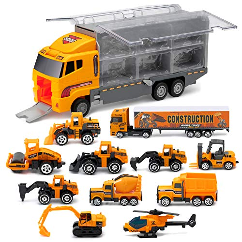11 in 1 Die-Cast Trucks Engineering Construction Car Toys Gifts Set - Mini Play Vehicles Car Toy in Carrier Truck Play Car Gifts for Toddlers Kids Boys - Carrier Car Toy