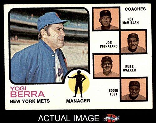 Yogi Berra Card (1973 Topps # 257 BRN Mets Leaders Yogi Berra / Roy McMillan / Joe Pignatano / Rube Walker / Eddie Yost New York Mets (Baseball Card) (Brown Background Behind the Coaches) Dean's Cards 5 - EX Mets)