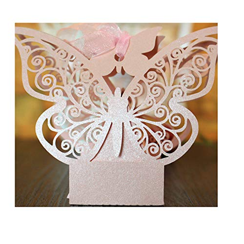 50Pcs Creative Shower Box DIY Wedding Favors Gift Party Supplies Romantic Mariage Candy Boxes Pink]()