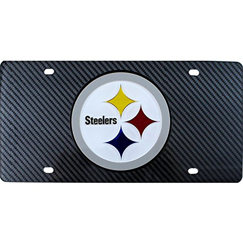 - Pittsburgh Steelers Deluxe CARBON Fiber Style Laser License Plate Tag Football