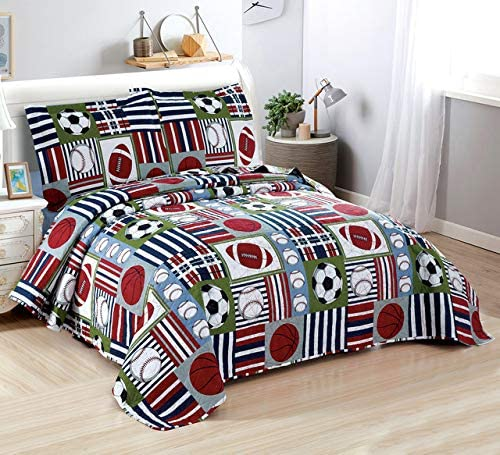 Amazon.com: 3 Pieces Boys Sports Football Rugger Baseball Quilted Bedspread Coverlet Twin with Pillowcases,Ultra-Thin Lightweight Breathable Quilt Bedding Sets for Home, Bedroom Decoration (Twin, Red Football): Home & Kitchen