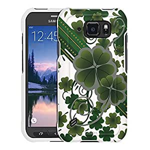 Samsung Galaxy S6 Active Case, Snap On Cover by Trek Lucky Clovers on White Case