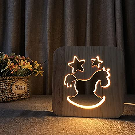 Creative 3D Horse Wooden Lamp, LED Table Light USB Power Cartoon Nightlight  Desk lamp Home Bedroom Decor Lamp, Gift for Kids Adult Girls Boys Bedroom  ...