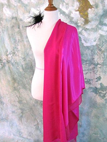 Silk Evening Wrap, Silk Shawl, Fuchsia, Oversized Scarf, Evening Shawl, Handmade by Silky Affection
