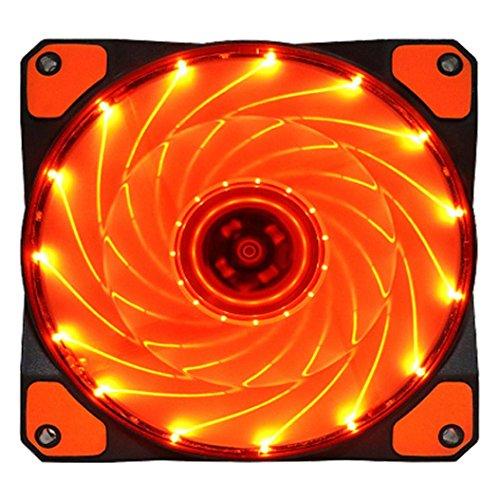 15 LED Light Quite 120mm DC 12V 4Pin PC Computer Case Cooling Cool Fan Mod (orange) ()