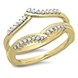0.25 Carat (ctw) 14K Yellow Gold Round Diamond Wedding Band Enhancer Guard Double Ring 1/4 CT (Size 6)