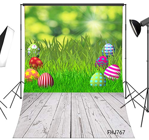 LB Rustic Brown Wood Floor Easter Backdrop for Photography 6x9ft Fabric Green Grass Eggs Spring Background Customized Children Kids Adult Portraits Photo Backdrop Studio Props,Washable