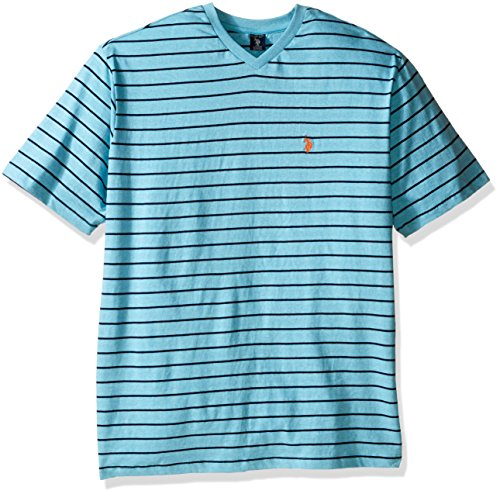 U.S. Polo Assn. Men's Big-Tall Horizontal Pin Stripe V-Neck T-Shirt, Capri Heather, X-Large/Tall