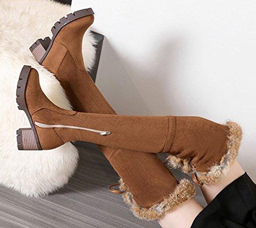 Hiver Aisun Femme Chaud Brun Chaussures Cuissardes De Bottes Genou ZITqa