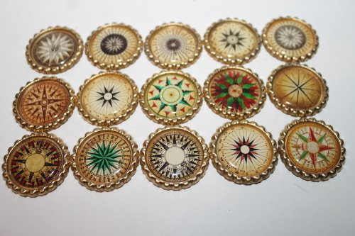 Geocache Swag Bottle Caps - Compass Collection Set 3 Mariner's Rose