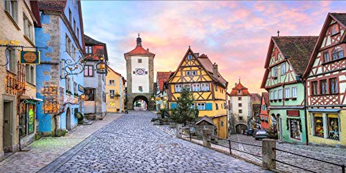Leowefowa 20x10ft Oktoberfest Backdrop German Famous City Bavaria Town Street Landscape Colorful Half-timbered Houses Dramatic Sky Background for Photography Octoberfest Party Decoration Photo Props