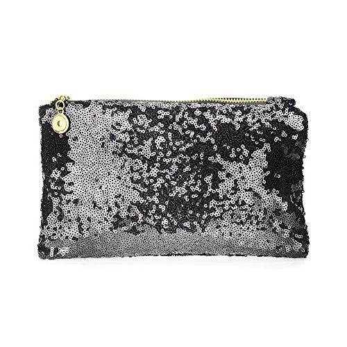 Sequins Clutch Evening Party Bag (Black) - 6