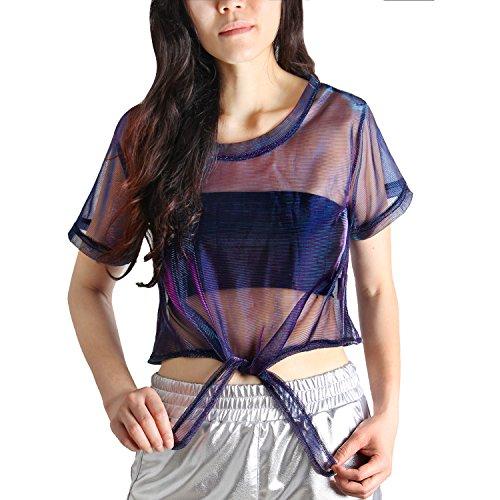 Sparkle Knit Top - MAKARTHY Women's Summer Short Sleeve See Through T-Shirt Sheer Mesh Tops Blouse Blue Red