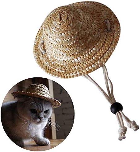 360MALL 애완 동물 용품 애완 동물 모자 강아지 모자 밀 짚 모자 일사병 예방 공기에 자외선 방지 크기 조절 차양 모자 초 귀여운 모자 패션 천연 소재 잔디로 뜨는 화장 사진 선물 초 대형 견 (S) / 360MALL Pet Supplies Pet Hat Dog Hat Heat Str...