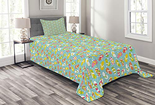 Ambesonne Flip Flop Bedspread Set Twin Size, Colorful and Different Patterned Double Pluggers on Star Filled Blue Backdrop, 2 Piece Decorative Quilted Coverlet with 1 Pillow Sham, Multicolor