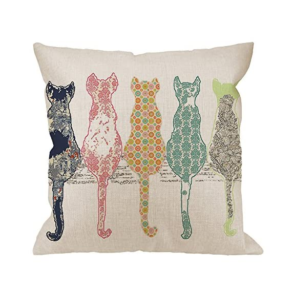 "HGOD DESIGNS Colourful Creative Cared Cats Pillow Case,Cute Cats Back Cotton Linen Cushion Cover Square Standard Home Decorative for Men/Women 18x18 inch White Green Pink Orange - Cotton Linen Material:Durable high quality cotton linen Burlap,no peculiar smell,comfortable,breathable,durable and stylish. Dimensions: 18"" x 18"" inch (1-2cm deviation).Please ensure your pillow is suitable for this size.it is easy to install. - living-room-soft-furnishings, living-room, decorative-pillows - 516P9 OFeLL. SS570  -"