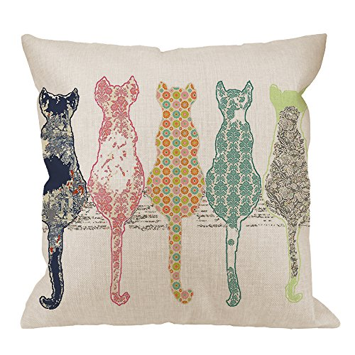 HGOD DESIGNS Colourful Creative Cared Cats Pillow Case,Cute Cats Back Cotton Linen Cushion Cover Square Standard Home Decorative for Men/Women 18x18 inch White Green Pink Orange