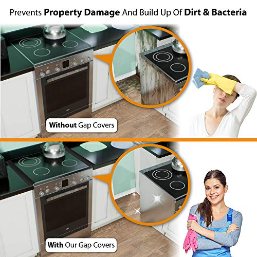 Linda's Silicone Stove Gap Covers (2 Pack), Heat Resistant Oven Gap Filler Seals Gaps Between Stovetop and Counter, Easy to Clean (25 Inches, Black)